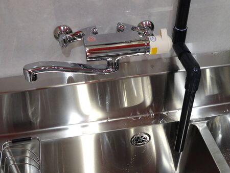 排水パイプ配管シンク 写真素材