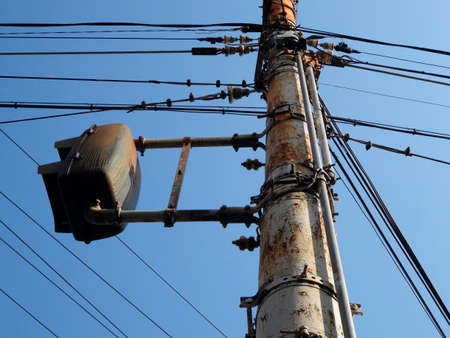 utility pole: Utility pole iron rusty