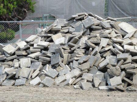 コンクリート タイル工事現場を皮をむいた