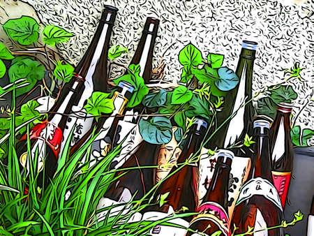 sho: Sho bottle of illustrations tone Stock Photo