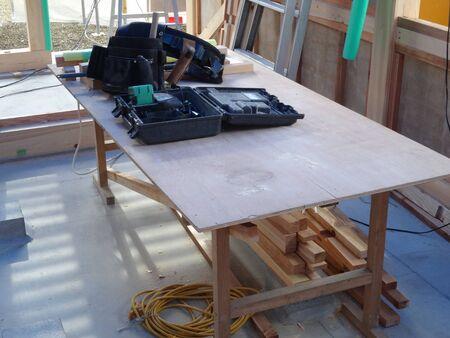 木造建築の建設のワークベンチ 写真素材