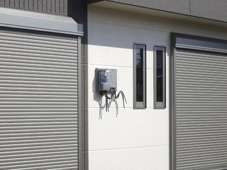 electric meter: medidor de electricidad de condominios recién construidos