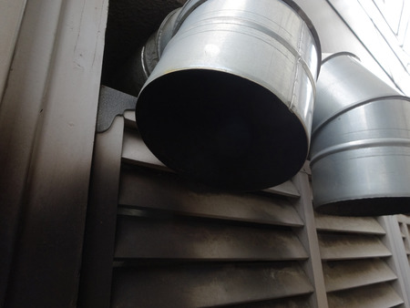 soot: Dirty ventilation ducts Stock Photo