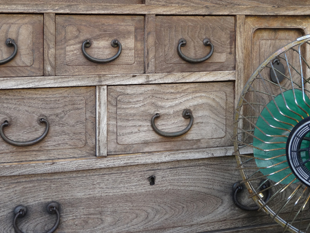 drawers: Showa of paulownia chest of drawers and fan Stock Photo