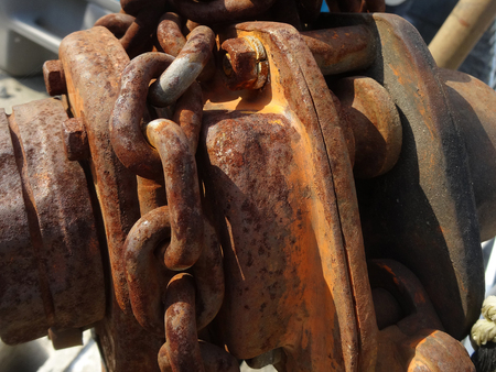 rusty chain: rusty chain block Stock Photo