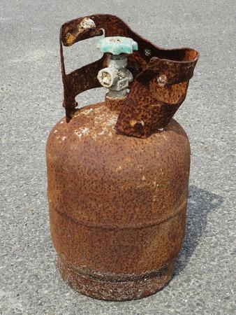 propane gas: The rusty propane gas tank