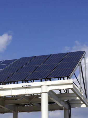 vacant lot: Solar panels of a vacant lot Stock Photo