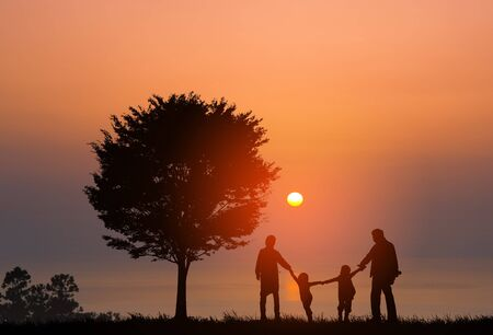 Lakeside family silhouette