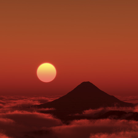 dawning: Mt. Fuji and Asahi Stock Photo