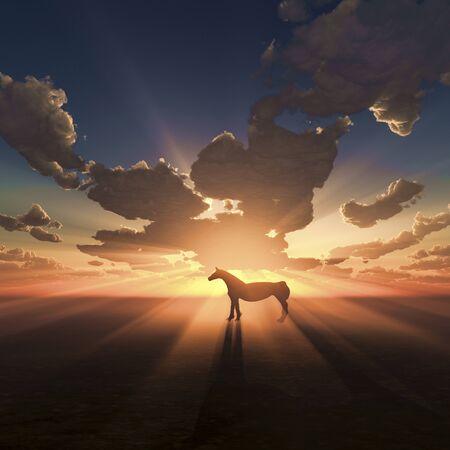 newyear: Horse and sunrise