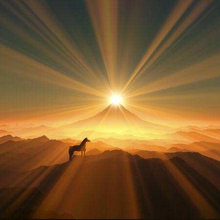 amanecer: Monte Fuji y un caballo