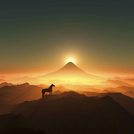 january sunrise: Mt. Fuji and a horse Stock Photo