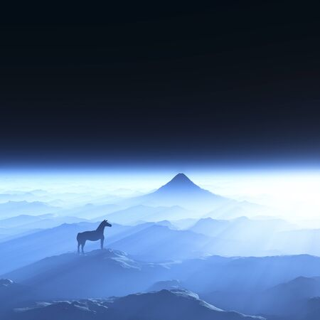 grandeur: Mt. Fuji and a horse Stock Photo