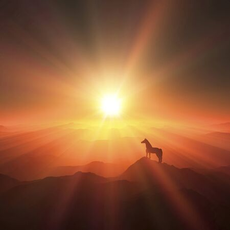 grandeur: Horse and sunrise