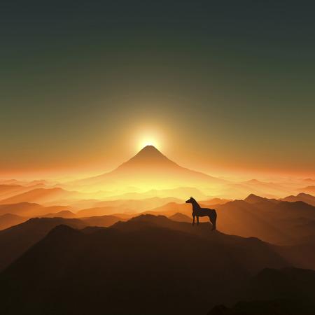 grandeur: Mt. Fuji and a horse Stock Photo