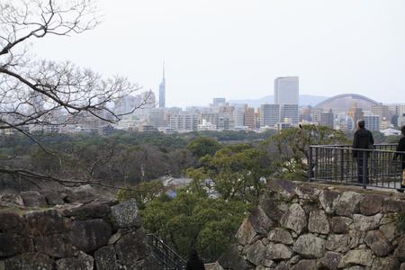 castle tower: Fukuoka Castle tower block Stock Photo