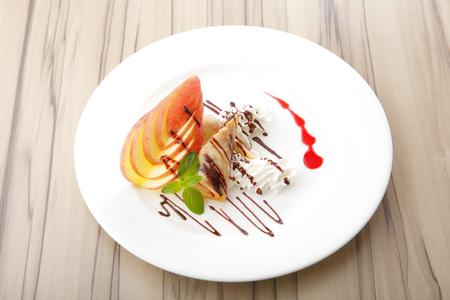 custard apples: Served with apple spring roll custard cream Stock Photo