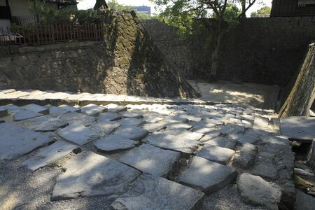 impregnable: Stone steps of Kumamoto Castle Stock Photo