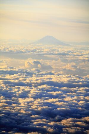 airborne vehicle: Sea of clouds and Mount Fuji Stock Photo