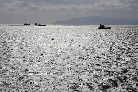 函館港の貨物船 写真素材