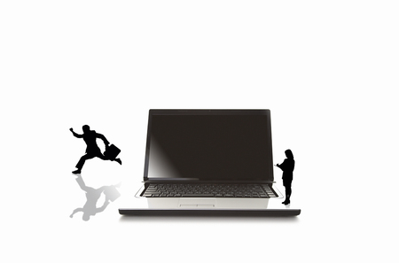 note pc: Businessman to jump from a laptop Stock Photo