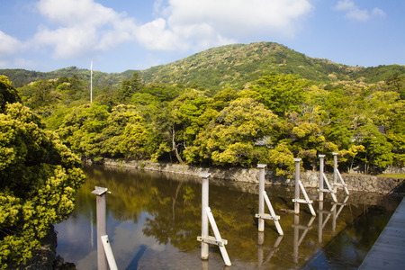 kanji: Kanji mountain seen from Uji Bridge and Naiku