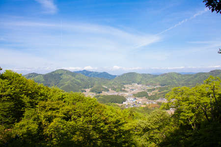amano: Kamiamano seen from the observatory with two torii