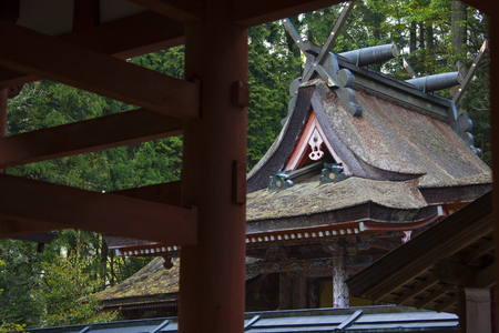 amano: Main shrine seen from the tower gate Stock Photo