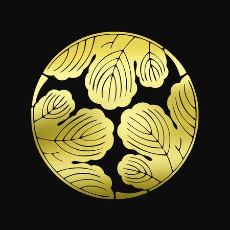 3 分割梶 Mitsuwari カジノの葉 写真素材
