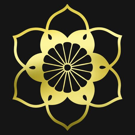 gold record: Sixteen-leaf chrysanthemum in Kakezakana gun record so chrysanthemum in Kegyo Stock Photo