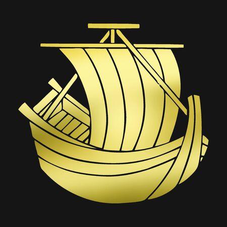 sails: HoKake-sen boat propelled by sails Stock Photo