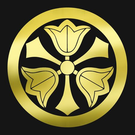 ko: Three in a round Kenkuchinashi-ko gardenia and Mitsuken in circles