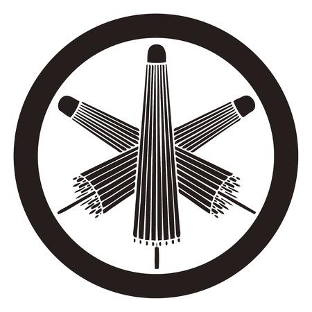 Three pairs umbrella in a round Mitsu-kumikasa in circles