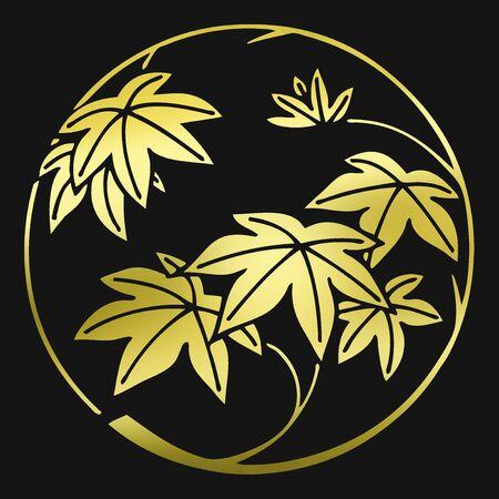 japanese culture: Maple branches Maru kaedeedamaru