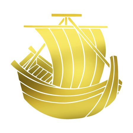 propelled: HoKake-sen boat propelled by sails Stock Photo