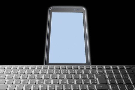 processing speed: Smartphone with keyboard Stock Photo