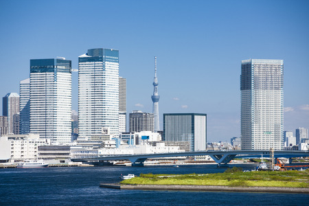 Tokyo sky tree Tower seen from the Rainbow Bridge