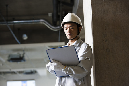 Male workers to check the site