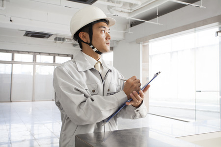 manual test equipment: Site foreman Stock Photo