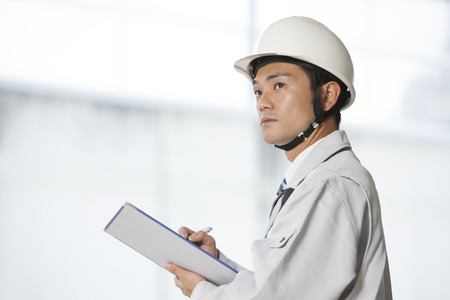 margin of safety: Site foreman Stock Photo