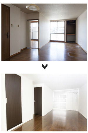 Renovation of living before and after Stock Photo