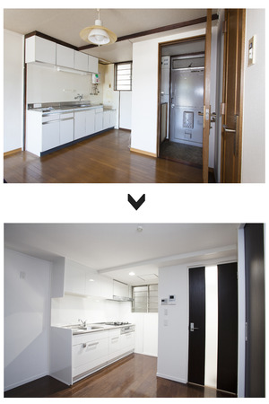 Kitchen and entrance of renovation before and after