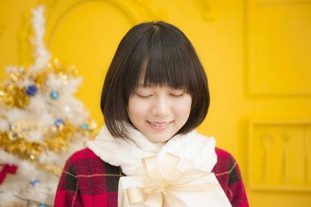 christmas gift: Girl with Christmas gift