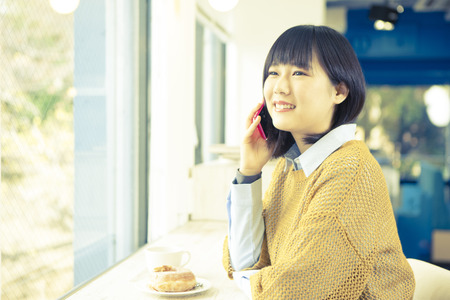 Girl to call in a cafe