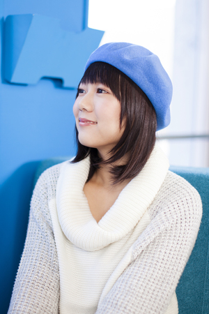 suffered: Girl who suffered a beret Stock Photo