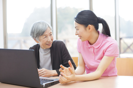 caregivers: Caregivers who see the laptop and my grandma