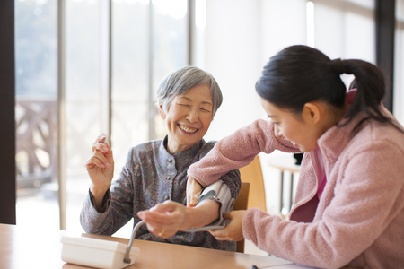 Grandma measure blood pressure