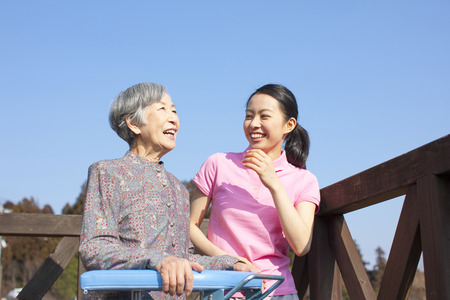 Grandma talks to women caregivers