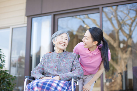 an elderly person: Grandma took care and wheelchairs