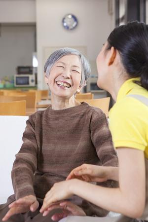 senior men: Granny enjoying the care and recreation Stock Photo